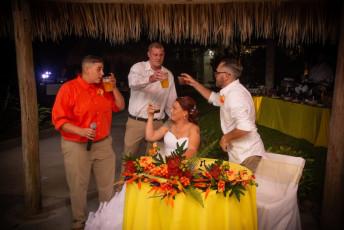 tropical garden wedding champagne toast