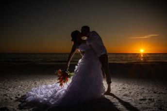 sunset beach bride