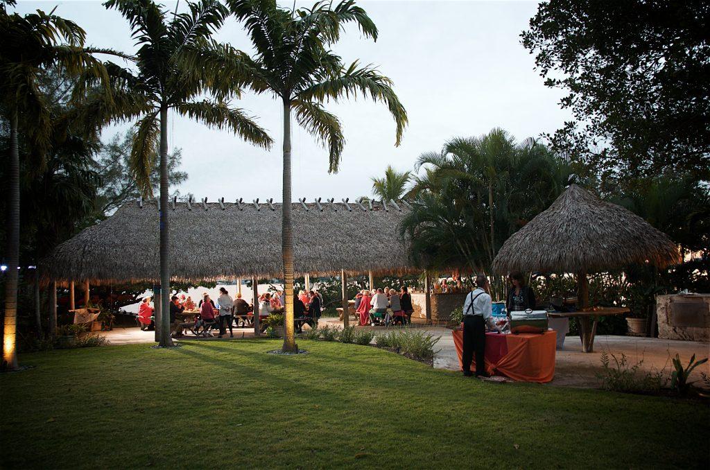 Waterfront Tiki hut wedding reception on Lido Key Florida