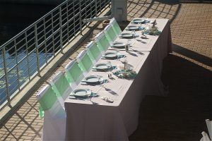 Head table at the Florida aquarium wedding reception in Sarasota Florida
