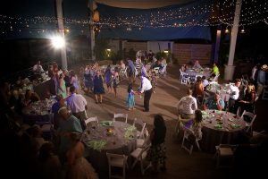Dancing under the stars at the Florida aquarium wedding reception