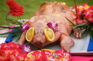 BBQ pig roast and luau show at Tiki hut wedding reception in Sarasota Florida