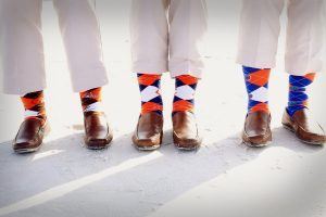 Fun socks for the groomsmen during a destination beach wedding in Sarasota Florida