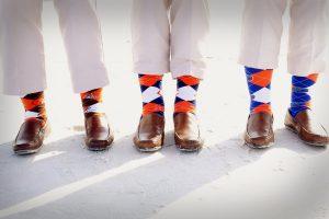 Fun socks for the groomsmen during a destination beach wedding in Sarasota Florida