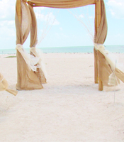 Burlap Bling wedding arch at a destination beach wedding in Sarasota Florida