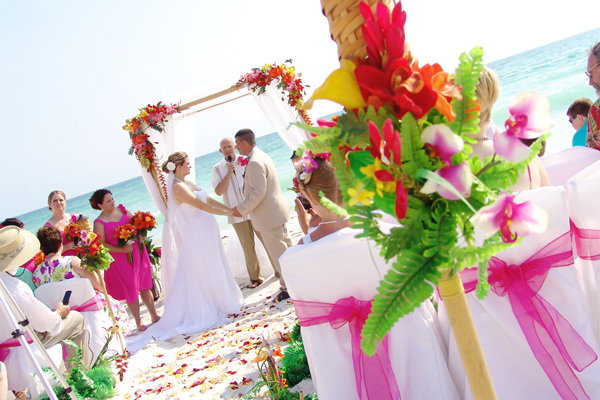 A Tropical Hawaiian Beach Wedding on Siesta Key Beach on the Gulf Coast of Florida