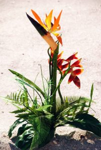 Tropical Hawaiian isle decor at a gulf beach wedding in Sarasota Florida