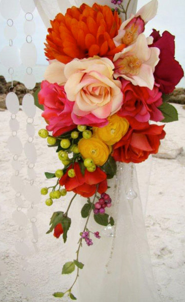 Beach wedding flower arrangement