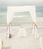 Nautical Seascape wedding canopy at a destination beach wedding in Lido Key Florida