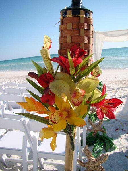 Tropical Tiki Torch Wedding Aisle Decor At A Florida Beach In Sarasota