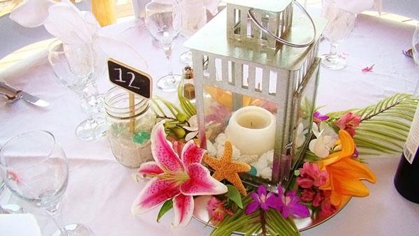 ... Tropical Lantern Style Table Centerpiece At A Beach Wedding On A  Florida Gulf Beach ...