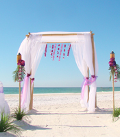 Tahitian Garden wedding canopy at a destination beach wedding in Anna Maria Island Florida
