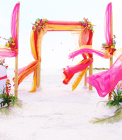 Tropical Bollywood wedding canopy at a destination beach wedding in Anna Maria Island Florida