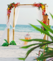 Tropical Hawaiian wedding canopy at a destination beach wedding in Anna Maria Island Florida