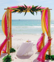 Tropical Palms and Starfish arch and wedding canopy at a destination beach wedding in Anna Maria Island Florida