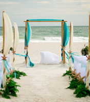 Tropical Sea wedding canopy at a destination beach wedding in Anna Maria Island Florida