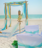 Tropical Waters wedding canopy at a destination beach wedding in Anna Maria Island Florida
