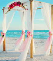 Victorian Rose Garden wedding canopy at a destination beach wedding in Anna Maria Island Florida